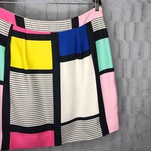 Kate Spade Color Block Rainbow Striped Mini Skirt